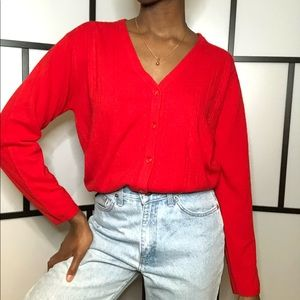 Vibrant red cardigan in small